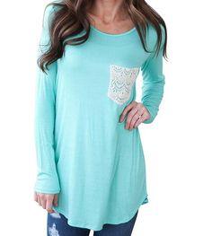 Very Cute Lace Detail Pocket Long Shirt - Material:Cotton blend,lace - Color:light blue - Scoop neck chest lace pocket decor regular fit long sleeve shirt - Machine washable - Sizes S-XL Size USA Bust