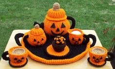 Jacko Lantern Pumpkin Halloween Party Tea Set by craftsforangels