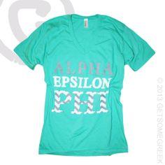 ALPHA EPSILON PHI MINT AND CHEVRON GETSOMEGREEK CUSTOM GROUP ORDER OF VNECKS! GSG & AEPHI!