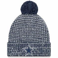 47185dcdcff5c Women s Dallas Cowboys New Era Navy Frosty Cuffed Pom Knit Hat