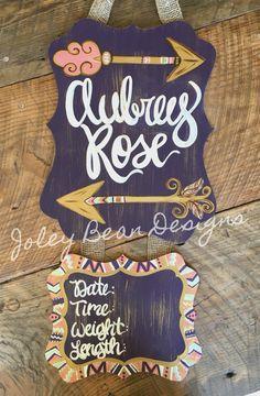 Joley Bean Designs, hospital door hanger, Aztec, arrows, feathers