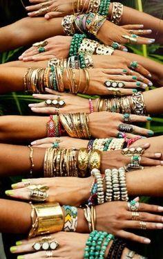 stacked boho bracelets