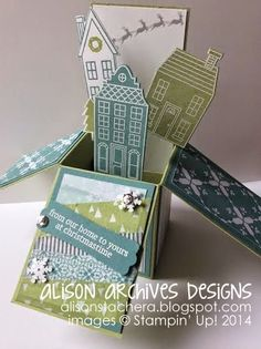 Alison Archives Designs: Stampin' Up! Holiday Home, Stampin' Up! Card in a box, Stampin' Up! Christmas Card, SU! 3-d projects, SU! Christmas 2014