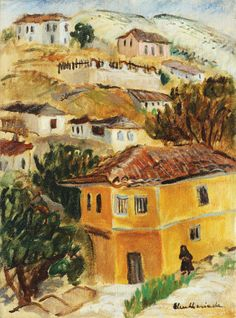 Balchik Hills Micaela Eleutheriade - by style - Impressionis Post Impressionism, Art Database, Gallery, Artwork, Coups, Painting, Image, Sea, Style