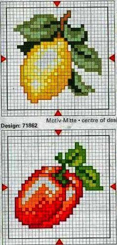 Punto croce - Schemi Gratis e Tutorial: Raccolta di schemi a punto croce- frutta e verdura...