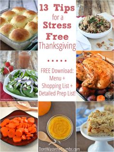 Thanksgiving doesn't have to be stressful!  Here are 13 simple and practical tips to make this holiday the best, stress free Thanksgiving yet!  Plus a free download that includes a frugal menu, shopping list and detailed prep tasks leading up to the big day! :: DontWastetheCrumbs.com