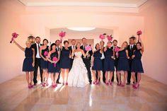 Image result for hot pink navy blue wedding