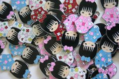 Assorted Kimono Kokeshi Doll Charm by MadamePaisleys. Why couldn't I find these a year ago? Talk about perfect treat bag items! Adorable!