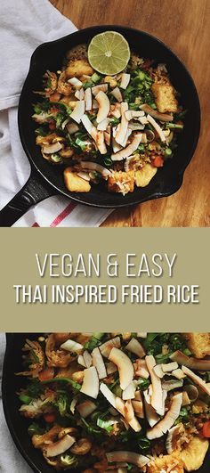 I was inspired to make my twist on a traditional fried rice by adding in Thai flavours like mint, lime, and lemongrass. Vegan Fried Rice, Vegan Fries, Thai Vegan, Vegan Vegetarian, Curry Paste, Vegan Recipes Easy, Lemon Grass, Spice Things Up, Lime