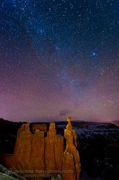 Starry Christmas night in front of Thor's Hammer, Bryce Canyon National Park, Utah