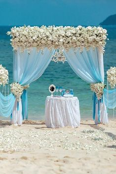 30 Floral Wedding Arch Decoration Ideas ❤ wedding arch decoration ideas white blue arch on the beach phuketwed ❤ See more: http://www.weddingforward.com/wedding-arch-decoration-ideas/ #weddingforward #wedding #bride