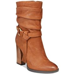 Guess Tamsin Slouch Booties ($85) ❤ liked on Polyvore featuring shoes, boots, ankle booties, arena brown, scrunch boots, slouch booties, slouchy ankle booties, brown scrunch boots and brown ankle booties