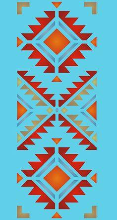 Navajo Four Corners Stencil - Henny Donovan Motif Motif Navajo, Navajo Art, Navajo Pattern, Native American Patterns, Native American Symbols, Native American Design, Tribal Patterns, Quilt Patterns, Motif Vector