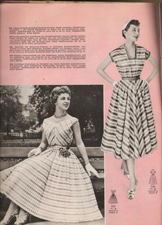 Stylish stripes from March 1956. #vintage #1950s #dresses #fashion