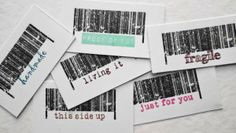samples of France Papilloin's Barcode #10019 and Barcode Text #10020 Stampotique stamps