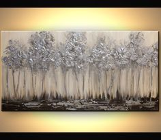 Modern Purple Silver Landscape Blooming Tree Painting Signed Palette Knife Original Acrylic Painting by Osnat (this, except a row of delicate looking purple flowers, dark green vines w/ Landscape Painting - Original Contemporary Modern Art by Osnat. Abstract Landscape Painting, Landscape Paintings, Abstract Art, Art Paintings, Abstract Paintings, Canvas Art Prints, Canvas Wall Art, Painted Canvas, Canvas Canvas