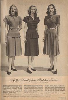 The Closet Historian: Cataloging Catalogs: Ward's Fall/Winter More Dresses! 1940s Outfits, 1940s Dresses, Vintage Dresses, Vintage Outfits, Vintage Fashion, Vintage Beauty, Vintage Clothing, Women's Clothing, Fashion Moda
