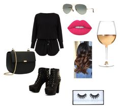 """""""girls night out"""" by goddessjackson on Polyvore featuring Helmut Lang, Ray-Ban, Lime Crime, Huda Beauty and Marc Blackwell"""