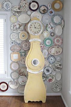Antique Vintage Style Swedish Mora Shabby Chic Yellow Cottage Floor Clock Danish