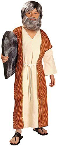 Forum Novelties Biblical Times Moses Costume, Child Small…Polyester Made in USA or Imported Biblical Times Moses child costume Includes robe, under-robe, and belt Child small fits children 39 to 45 inches tall, with a recommended weight range of 38 to 42 pounds Great for Halloween, Christmas, and other dress-up occasions Made by Forum Novelties, a leader in costumes and novelty products for more than 30 years (affiliate link)