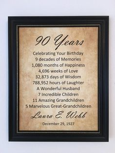 This Personalized Print Is Perfect For A 90th Birthday Gift It Very Unique Includes The Name And Date Of Birth People Love To See Their In