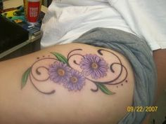 purple daisy tattoo