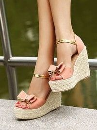 Rural Style Bowknot Platform Suede Pink Sandals