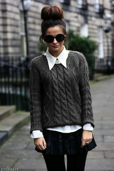 i love a big collar with a cozy sweater... perfect for winter but very stylish