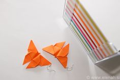 365 day project Butterfly ♥ DAY 87 ♥ Tiny paper origami butterfly earrings