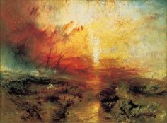 "4.118 Joseph Mallord William Turner, ""Slave Ship (Slavers Throwing Overboard the Dead and Dying, Typhoon Coming On)"", 1840. Oil on canvas. Museum of Fine Arts Boston, Henry Lillie Pierce Fund"