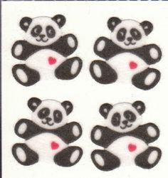 Vintage Sandylion Fuzzy Panda Bear Love Stickers 80's. $4.29, via Etsy.