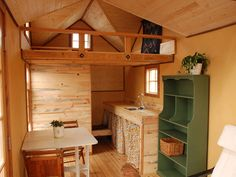 interior of a tiny cabin with a loft | Craftsman Tiny House « The Tiny Life