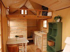 interior of a tiny cabin with a loft | Craftsman Tiny House « The Tiny Life