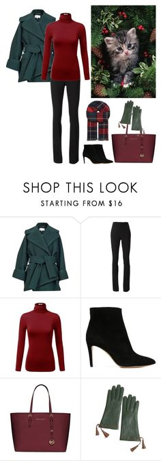 """""""Winter Green, Red and Black"""" by dezaval ❤ liked on Polyvore featuring Carven, Gucci, J.TOMSON, Emporio Armani, MICHAEL Michael Kors, Overland Sheepskin Co., Johnstons, women's clothing, women's fashion and women"""