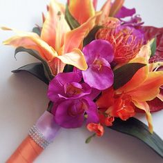 Tropical Bridal Bouquet Silk Bridal Bouquet by UrbanElementsDesign