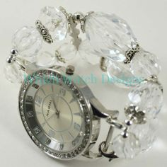 Sparkly Clear Faceted Acrylic and Silver Interchangeable Beaded Watch Band Beaded Watches, Jewelry Watches, Beaded Jewelry, Unique Jewelry, Jewelry Ideas, Thing 1, Chunky Beads, Apple Watch Bands, Jewellery Display