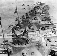 British Matilda II tanks of the 32 Army Tank Brigade lined up in Tobruk.