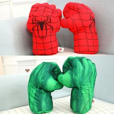 New Arrival Hot Sale 13'' I Hulk Smash Hands or Spider Man Plush Gloves Green And Red Props Toys Set of 2pcs/pair Free Shipping