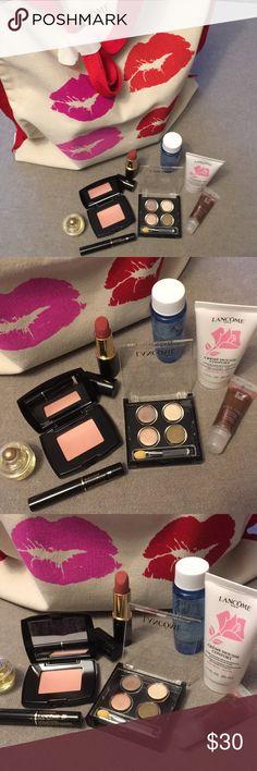 "💄LANCÔME BUNDLE💋👜 NWT!! NINE PIECE LANCÔME BUNDLE with fun canvas tote. All new unused, never swatched. Full size lipstick in ""Pink Organza"", 💄Blush Subtil in ""Sheer Amourose"", Color Focus neutral color Eyeshadow Palette, 1.7 oz. Creme-Mousse Confort Facial cleanser, 1.7 oz Bi-Facil Eye Makeup Remover, 0.21 oz Juicy Tubes ""Sun Bronze"" Lip Gloss, .07 oz Black, DEFINICILS High Definition Mascara, .23 FL oz ""Attraction"" Eau de Parfum. Tote measures 16"" tall x 15"" wide. Lancome Makeup"