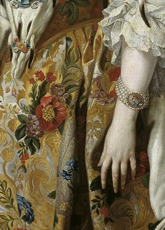 Official portrait of Queen Isabel de Farnesio by Louis-Michel van Loo, 1739 (detail)