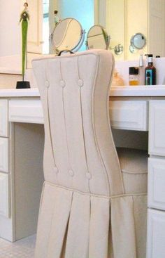 Reese Natural Skirted Vanity Chair | Box pleat skirt, Box pleats ...
