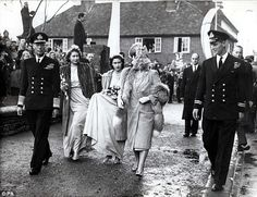 A magnetic attraction: Elizabeth, left, and Philip only have eyes for each other as they walk with Princess Margaret and the Queen at a wedding in 1946 Young Queen Elizabeth, Princess Elizabeth, Princess Margaret, Margaret Rose, Duchess Of York, Young Prince, Handsome Prince, Prince Phillip, Queen Mother