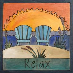 Another great find on Holly's Chairs 'Relax' Wall Art Sticks Furniture, Art Furniture, Painted Furniture, Peace Pole, Stick Art, Beach Signs, Tole Painting, Acrylic Paintings, Barn Quilts