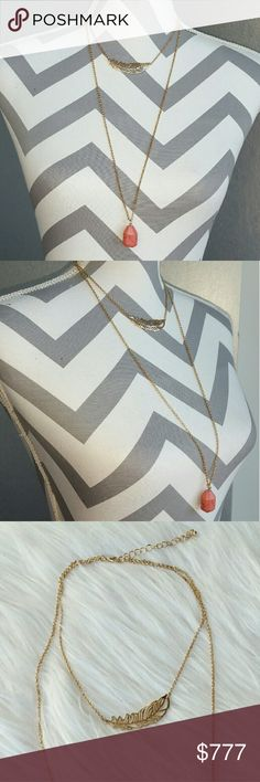 🆕Trendy multi layered necklace NWT Brand new, Boutique item  On trend, this layered necklace features a gold toned feather detail on one chain and a faux stone on the second chain. Pair with any outfit for added detail!  Chain extension and hook clourses Jewelry Necklaces