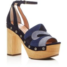 Sigerson Morrison Quentin Patchwork Platform Clogs ($285) ❤ liked on Polyvore featuring shoes, clogs, patchwork, sandals, navy multi, vintage clogs, navy shoes, wood platform shoes, suede platform shoes and platform shoes #ClogsShoesVinatge