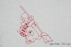 Vintage Embroidery - Chore Girl Sweeping