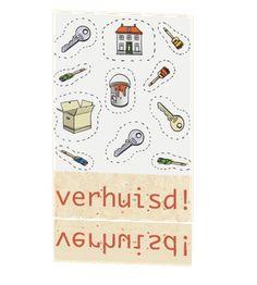 Leuke verhuiskaart met illustratie en elementen #verhuiskaartje #verhuiskaart