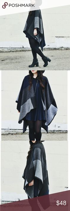 SALE! Night Sky Open Cape Wrap One size: Length 53-1/10 in - 68-9/10 in  Acrylic & Polyester Blend soft and comfy not scratchy   Reversible!   Machine wash, hang to dry   No armholes U shaped Oversized Wrap Shawl Cape  Boutique items are NWOT direct from makers Accessories Scarves & Wraps