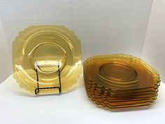 "(8) Depression Glass Amber 7-7/8"" Square Luncheon Salad Plates scalloped corners"