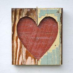 heart art primitive shabby chic OPEN HEARTED by ElizabethRosenArt, $54.00